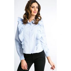 Koszule damskie: Niebieska Koszula w Pionowe Paski 21081