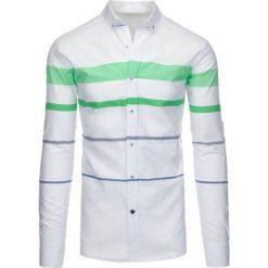 Koszule męskie na spinki: Biała koszula męska w paski (dx1285)