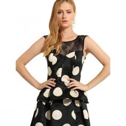 Bluzka w kolorze biało-czarnym. Czarne bluzki damskie Almatrichi, s, w kropki, z dekoltem na plecach. W wyprzedaży za 109,95 zł.