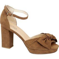 Rzymianki damskie: sandały damskie 5th Avenue koniakowe