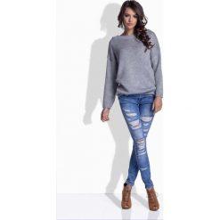 Swetry damskie: Jasnoszary Oversizowy Sweter z Satynową Wstążką na Plecach