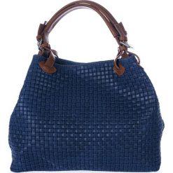 Torebki klasyczne damskie: Skórzana torebka w kolorze granatowym – 35 x 17 x 28 cm