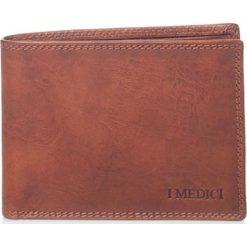 Portfele męskie: Skórzany portfel w kolorze brązowym – 9 x 11 x 1,5 cm