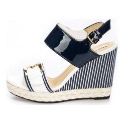 Geox Sandały Damskie Donna Janira 40 Białe. Białe sandały damskie Geox, na koturnie. W wyprzedaży za 379,00 zł.