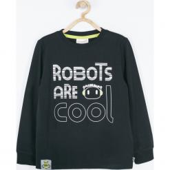Koszulka. Czarne t-shirty chłopięce z długim rękawem marki COOL ROBOTS, z nadrukiem, z bawełny. Za 45,90 zł.