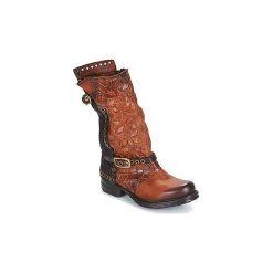 Kozaki Airstep / A.S.98  SAINT EC BUCKLE. Brązowe buty zimowe damskie marki Kazar, ze skóry, przed kolano, na wysokim obcasie. Za 1061,10 zł.