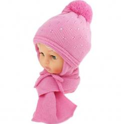 Czapka dziecięca z szalikiem CZ+S 129B. Różowe czapeczki niemowlęce Proman. Za 42,82 zł.
