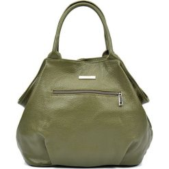 Torebki klasyczne damskie: Skórzana torebka w kolorze zielonym – (S)30 x (W)37 x (G)13 cm