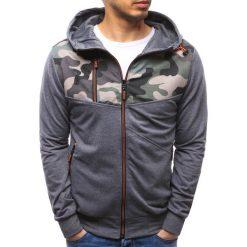 Bluzy męskie: Bluza męska rozpinana z kapturem antracytowa (bx3485)