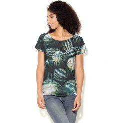 Colour Pleasure Koszulka damska CP-034  56 zielono-czarna r. M-L. Fioletowe bluzki damskie marki Colour pleasure, uniwersalny. Za 70,35 zł.