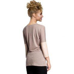 MELISSA Zwiewna, lekka bluzka z zaokrąglonym dekoltem - cappuccino. Różowe bluzki z odkrytymi ramionami marki Moe, z poliesteru. Za 89,00 zł.
