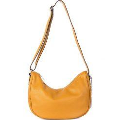 Torebki klasyczne damskie: Skórzana torebka w kolorze żółtym - 28 x 20 x 11 cm