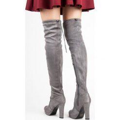 Buty zimowe damskie: SZARE ZAMSZOWE MUSZKIETERKI