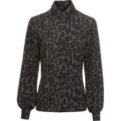 Bluzka w cętki leoparda bonprix oliwkowy w cętki leoparda. Zielone bluzki asymetryczne bonprix. Za 109,99 zł.