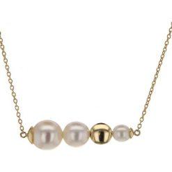Naszyjniki damskie: Złoty naszyjnik z perłami – (D)42 cm