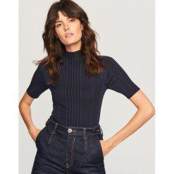 Sweter z krótkimi rękawami - Granatowy. Niebieskie swetry klasyczne damskie marki Reserved, l. Za 99,99 zł.