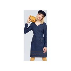 SUKIENKA  WEŁNIANA JENNY. Niebieskie długie sukienki marki Zoee, na jesień, l, z poliamidu, z długim rękawem, proste. Za 350,00 zł.