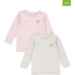 """Koszulki (2 szt.) """"Vio"""" w kolorze biało-szaro-jasnoróżowym. Białe bluzki dziewczęce w paski Name it Kids, z okrągłym kołnierzem, z długim rękawem. W wyprzedaży za 49,95 zł."""