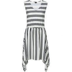 Sukienka shirtowa z symetrycznym dołem bonprix biało-czarny w paski. Białe sukienki asymetryczne bonprix, w paski, z asymetrycznym kołnierzem, bez rękawów. Za 49,99 zł.