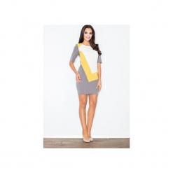 Sukienka M118 Żółty. Szare sukienki balowe marki FIGL, m, z bawełny, z asymetrycznym kołnierzem, z długim rękawem. Za 139,00 zł.