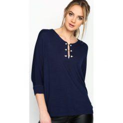 Granatowa Bluzka Pearly Catch. Niebieskie bluzki asymetryczne Born2be, l, z długim rękawem. Za 39,99 zł.