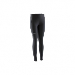 Legginsy do biegania długie RUN DRY damskie. Czarne legginsy marki KALENJI, z elastanu, z długim rękawem, długie. Za 39,99 zł.