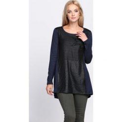Czarno-Granatowa Bluzka Don't Stress. Czarne bluzki longsleeves marki Born2be, l, z aplikacjami, ze skóry, z okrągłym kołnierzem. Za 34,99 zł.