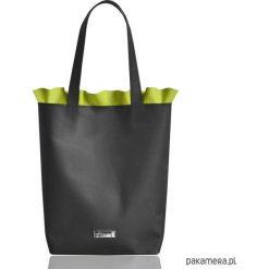 Shopper bag damskie: Skórzana torba z falbanką