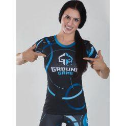 """Bluzki asymetryczne: Ground Game Sportswear Koszulka damska Rashguard """"Circles"""" krótki rękaw  Niebiesko-grafitowa r. XS"""