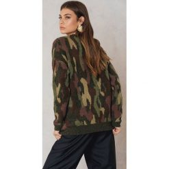 Swetry oversize damskie: NA-KD Trend Dzianinowy sweter moro - Green,Multicolor