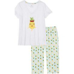 Piżamy damskie: Piżama ze spodniami 3/4, bawełna organiczna bonprix biało-miętowy z nadrukiem