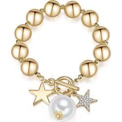 Bransoletki damskie na nogę: Pozłacana bransoletka z perłą i kryształkami