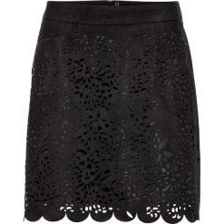 Krótka spódnica z materiału w optyce zamszu bonprix czarny. Czarne minispódniczki marki bonprix. Za 89,99 zł.