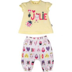 Spodnie niemowlęce: 2-częściowy zestaw w kolorze żółto-białym ze wzorem