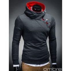 BLUZA MĘSKA Z KAPTUREM PACO - GRAFITOWA/CZERWONA. Czerwone bluzy męskie rozpinane marki Ombre Clothing, m, z bawełny, z kapturem. Za 69,00 zł.