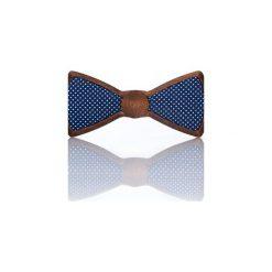 Cosmic – Drewniana Mucha Granatowa w Kropki. Niebieskie muchy męskie Woodenlife, w kropki, z bawełny. Za 99,00 zł.