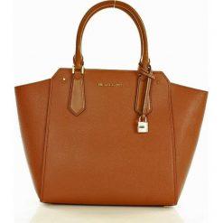 Luksusowa torebka tote MICHAEL KORS - HAYES - lugg/ballet. Pomarańczowe kuferki damskie Michael Kors, w paski, ze skóry, zdobione. Za 1399,00 zł.