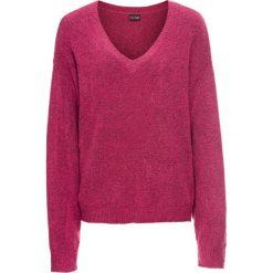 Sweter dzianinowy oversize bonprix jeżynowy melanż. Fioletowe swetry oversize damskie marki DOMYOS, l, z bawełny. Za 74,99 zł.
