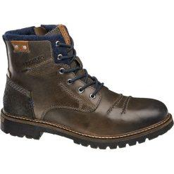Kozaki męskie Dockers popielate. Szare buty zimowe męskie DOCKERS, z materiału, na sznurówki. Za 319,90 zł.