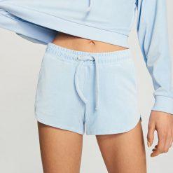 Szorty damskie: Welurowe szorty – Niebieski