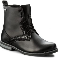 Botki HELIOS - 705 Czarny/B. Czarne buty zimowe damskie Helios, ze skóry, na obcasie. W wyprzedaży za 219,00 zł.