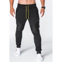 SPODNIE MĘSKIE DRESOWE P644 - CZARNE. Czarne spodnie dresowe męskie marki Ombre Clothing, m, z bawełny, z kapturem. Za 55,00 zł.