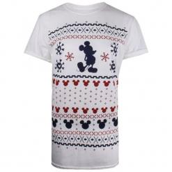 Christmas T-Shirt Damska Koszulka Mickey Fairisle M Biały. Białe bluzki asymetryczne Christmas T-Shirt, m, z motywem z bajki. Za 65,00 zł.