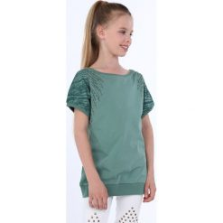 Odzież dziecięca: Bluzka dziewczęca z okrągłymi ćwiekami zielona NDZ8282