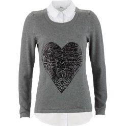Swetry klasyczne damskie: Sweter 2 w 1 z koszulową wstawką, długi rękaw bonprix szary melanż