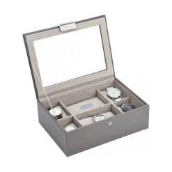 Pudełko na zegarki ze szklaną pokrywką Stackers taupe. Szare zegarki damskie Stackers. Za 294,00 zł.