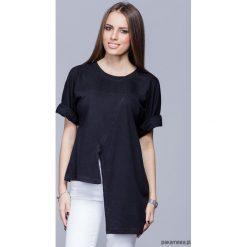 Asymetryczna unikatowa koszulka-czarna H014. Czarne bluzki damskie Pakamera, z bawełny, z asymetrycznym kołnierzem. Za 124,00 zł.