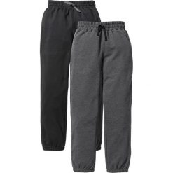 Spodnie dresowe (2 pary) bonprix czarny + antracytowy melanż. Czarne dresy chłopięce bonprix, melanż, z dresówki. Za 75,98 zł.