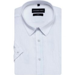 Koszula SIMONE slim KLBS500028. Białe koszule męskie slim marki INESIS, m, z bawełny, z długim rękawem. Za 199,00 zł.