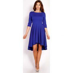 Niebieska Sukienka z Szerokim Asymetrycznym Dołem. Niebieskie sukienki asymetryczne Molly.pl, do pracy, l, z tkaniny, biznesowe, z asymetrycznym kołnierzem, z krótkim rękawem, mini. Za 139,00 zł.